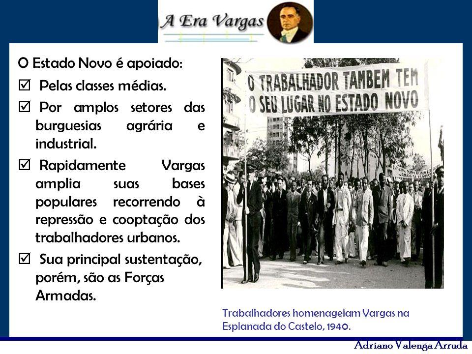 Adriano Valenga Arruda O Estado Novo é apoiado: Pelas classes médias. Por amplos setores das burguesias agrária e industrial. Rapidamente Vargas ampli