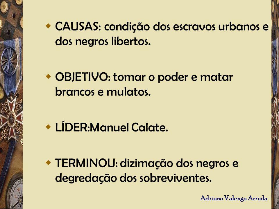 Adriano Valenga Arruda CAUSAS: condição dos escravos urbanos e dos negros libertos. OBJETIVO: tomar o poder e matar brancos e mulatos. LÍDER:Manuel Ca
