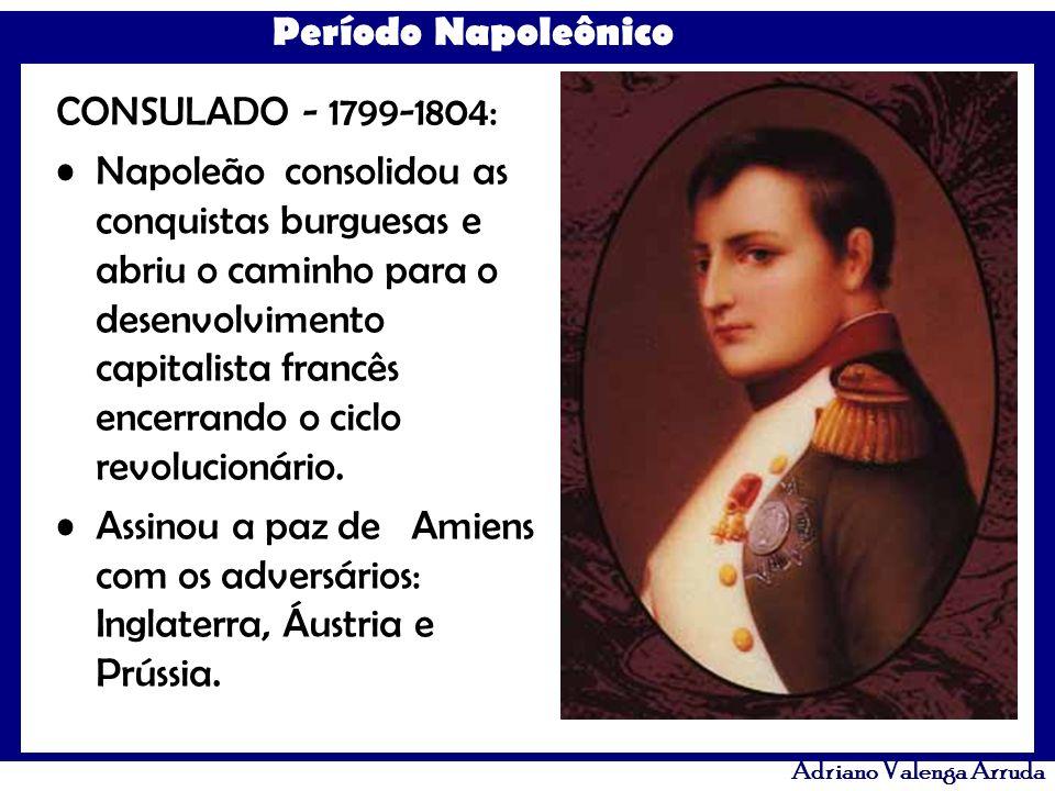 Período Napoleônico Adriano Valenga Arruda GOVERNO DOS CEM DIAS - TRÊS MESES EM 1815: Nesse curto período Napoleão entrou em guerra de novo com russos e ingleses, era a 7ª Coligação, onde foi definitivamente vencido na Batalha de Waterloo em 1815.
