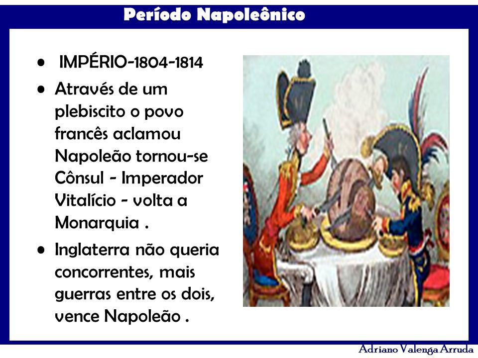 Período Napoleônico Adriano Valenga Arruda Nesse período Napoleão: controlou a Educação tirando aulas de Filosofia, controlando o conteúdo de História, suprimiu os direitos individuais estendeu seu Imperialismo a quase toda Europa, possuíao melhor exército.