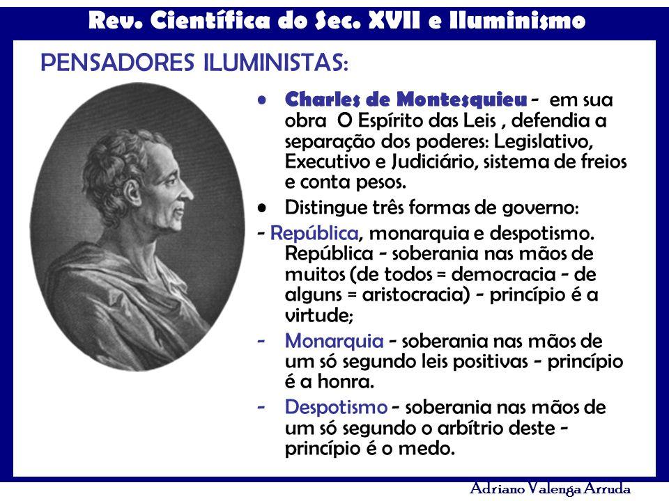 Rev. Científica do Sec. XVII e Iluminismo Adriano Valenga Arruda PENSADORES ILUMINISTAS: Charles de Montesquieu - em sua obra O Espírito das Leis, def