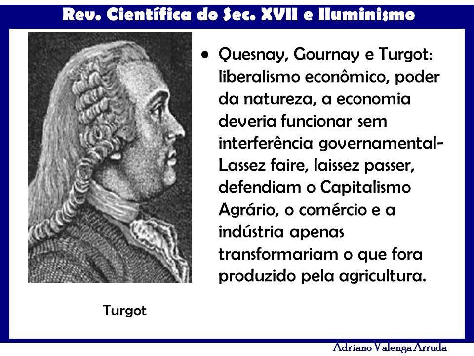 Rev. Científica do Sec. XVII e Iluminismo Adriano Valenga Arruda Quesnay, Gournay e Turgot: liberalismo econômico, poder da natureza, a economia dever