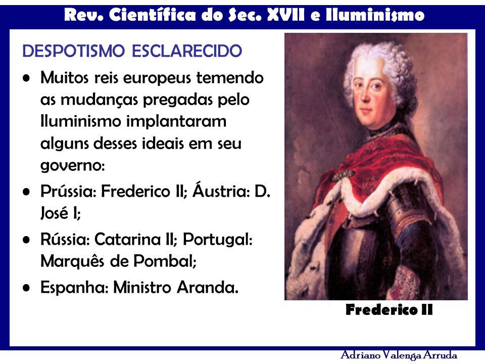 Rev. Científica do Sec. XVII e Iluminismo Adriano Valenga Arruda DESPOTISMO ESCLARECIDO Muitos reis europeus temendo as mudanças pregadas pelo Ilumini