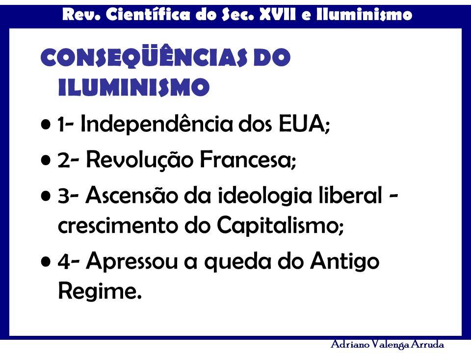 Rev. Científica do Sec. XVII e Iluminismo Adriano Valenga Arruda CONSEQÜÊNCIAS DO ILUMINISMO 1- Independência dos EUA; 2- Revolução Francesa; 3- Ascen