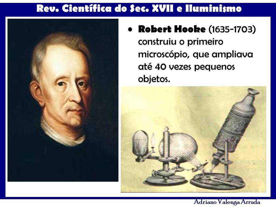 Rev. Científica do Sec. XVII e Iluminismo Adriano Valenga Arruda Robert Hooke (1635-1703) construiu o primeiro microscópio, que ampliava até 40 vezes