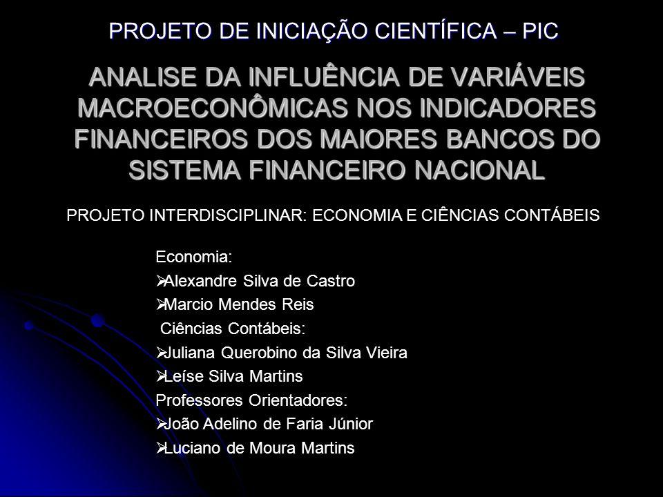 ANALISE DA INFLUÊNCIA DE VARIÁVEIS MACROECONÔMICAS NOS INDICADORES FINANCEIROS DOS MAIORES BANCOS DO SISTEMA FINANCEIRO NACIONAL PROJETO DE INICIAÇÃO