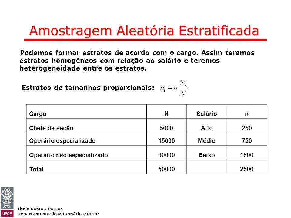 Thais Rotsen Correa Departamento de Matemática/UFOP Amostragem Aleatória Estratificada CargoNSalárion Chefe de seção5000Alto250 Operário especializado