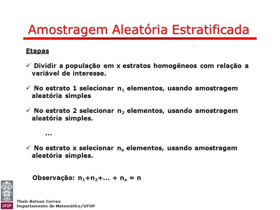 Thais Rotsen Correa Departamento de Matemática/UFOP Amostragem Aleatória Estratificada Etapas Dividir a população em x estratos homogêneos com relação