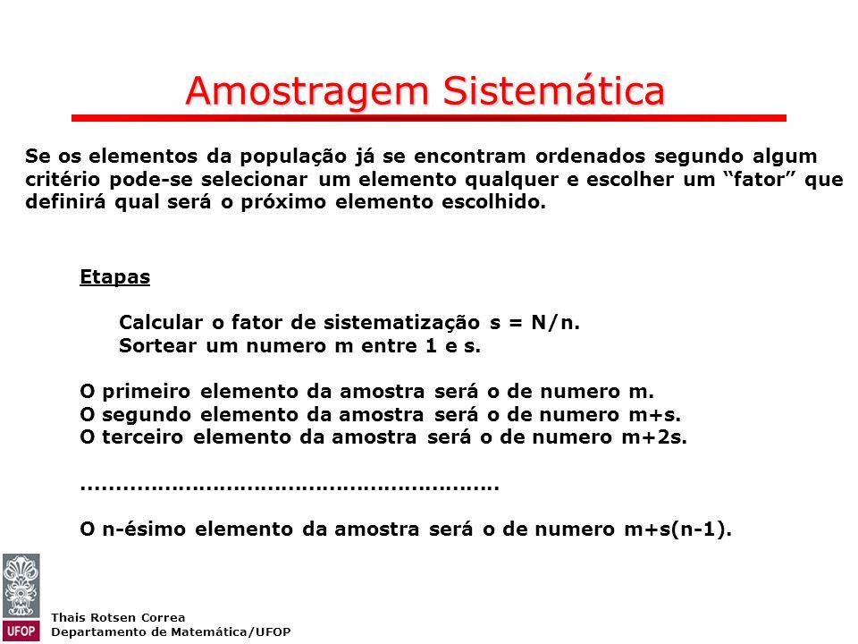 Thais Rotsen Correa Departamento de Matemática/UFOP Amostragem Sistemática Se os elementos da população já se encontram ordenados segundo algum critér
