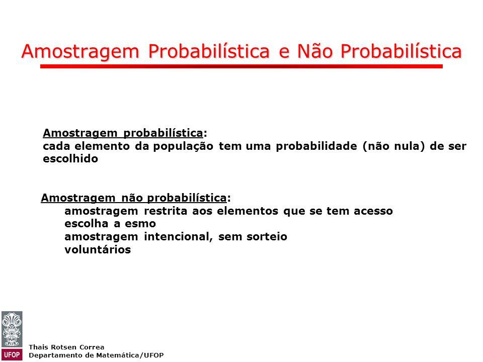 Thais Rotsen Correa Departamento de Matemática/UFOP Amostragem Probabilística e Não Probabilística Amostragem probabilística: cada elemento da populaç