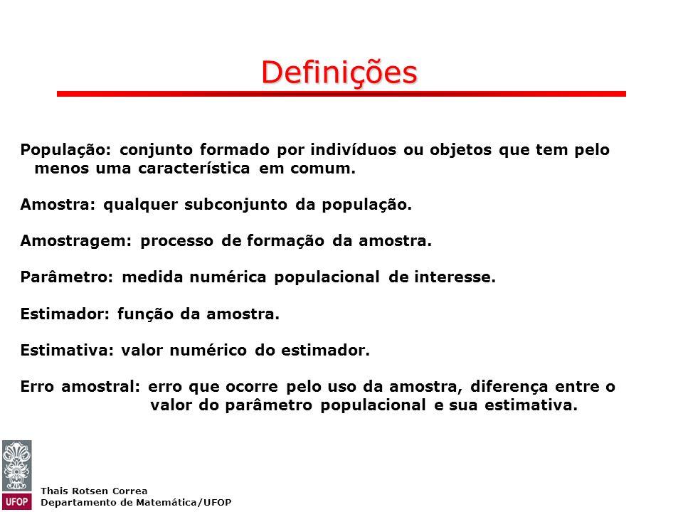 Thais Rotsen Correa Departamento de Matemática/UFOP Definições População: conjunto formado por indivíduos ou objetos que tem pelo menos uma caracterís