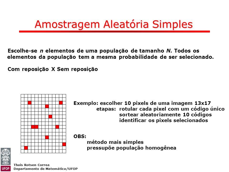 Thais Rotsen Correa Departamento de Matemática/UFOP Amostragem Aleatória Simples Escolhe-se n elementos de uma população de tamanho N. Todos os elemen