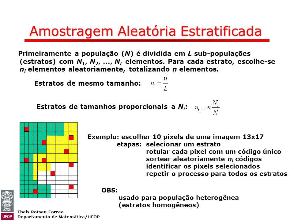 Thais Rotsen Correa Departamento de Matemática/UFOP Amostragem Aleatória Estratificada Primeiramente a população (N) é dividida em L sub-populações (e