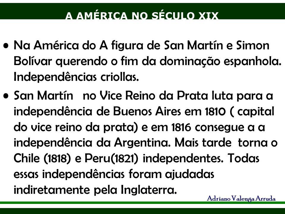 A AMÉRICA NO SÉCULO XIX Adriano Valenga Arruda Na América do A figura de San Martín e Simon Bolívar querendo o fim da dominação espanhola. Independênc