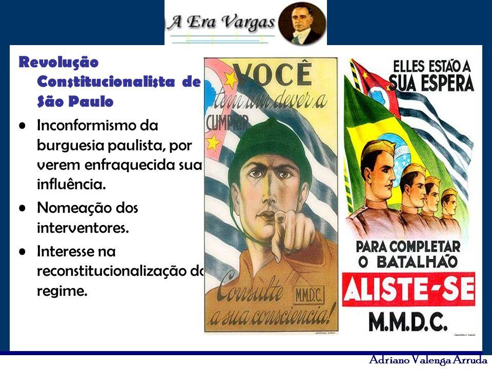 Adriano Valenga Arruda Revolução Constitucionalista de São Paulo Inconformismo da burguesia paulista, por verem enfraquecida sua influência. Nomeação