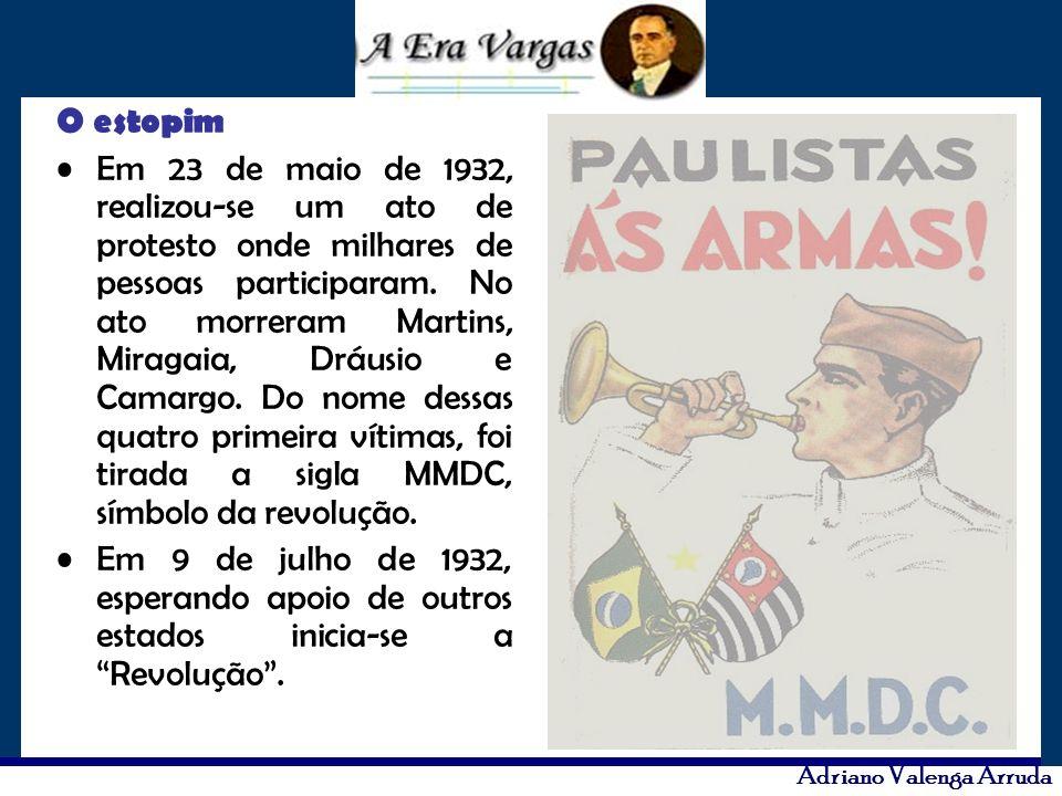 O estopim Em 23 de maio de 1932, realizou-se um ato de protesto onde milhares de pessoas participaram. No ato morreram Martins, Miragaia, Dráusio e Ca
