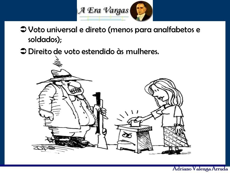 Adriano Valenga Arruda Voto universal e direto (menos para analfabetos e soldados); Direito de voto estendido às mulheres.