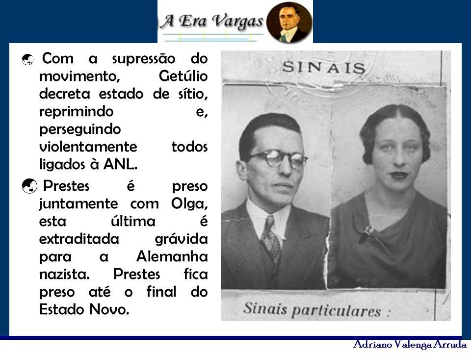Adriano Valenga Arruda Com a supressão do movimento, Getúlio decreta estado de sítio, reprimindo e, perseguindo violentamente todos ligados à ANL. Pre