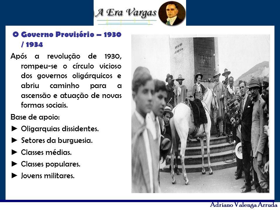 Adriano Valenga Arruda O Governo Provisório – 1930 / 1934 Após a revolução de 1930, rompeu-se o círculo vicioso dos governos oligárquicos e abriu cami