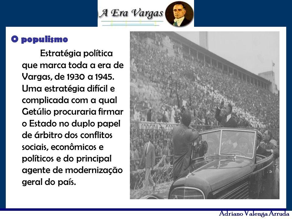 Adriano Valenga Arruda O populismo Estratégia política que marca toda a era de Vargas, de 1930 a 1945. Uma estratégia difícil e complicada com a qual