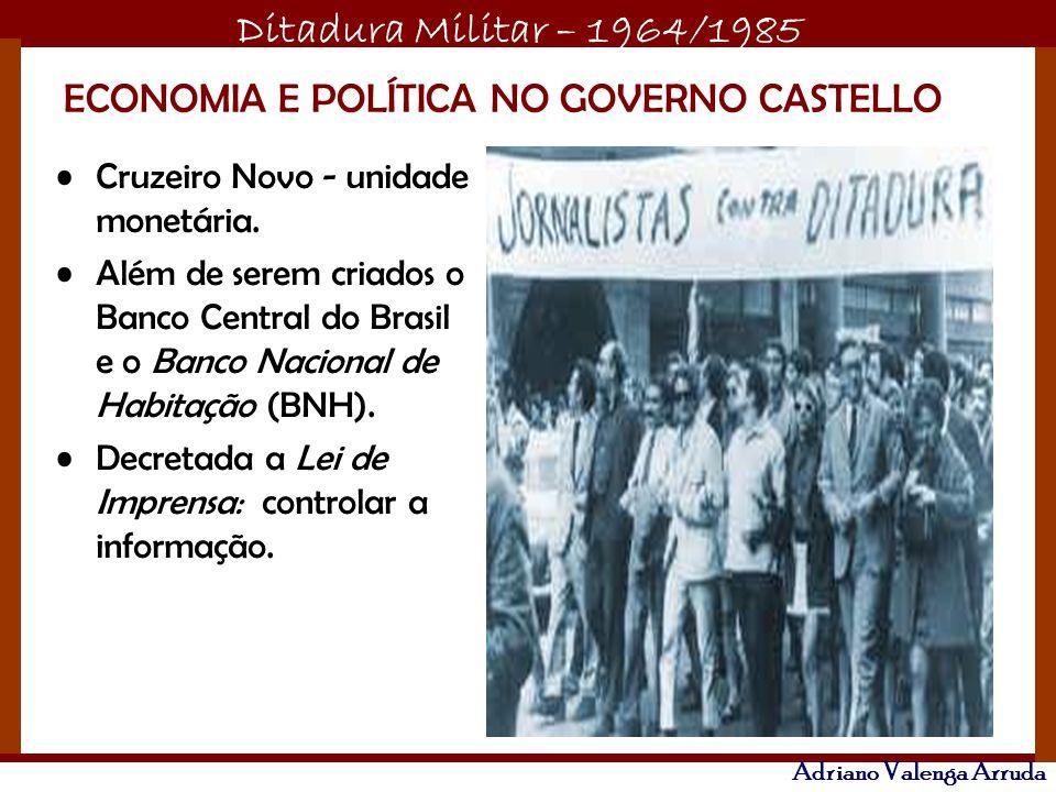 Ditadura Militar – 1964/1985 Adriano Valenga Arruda ECONOMIA E POLÍTICA NO GOVERNO CASTELLO Cruzeiro Novo - unidade monetária. Além de serem criados o