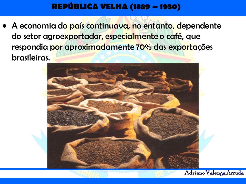 REPÚBLICA VELHA (1889 – 1930) Adriano Valenga Arruda A economia do país continuava, no entanto, dependente do setor agroexportador, especialmente o ca