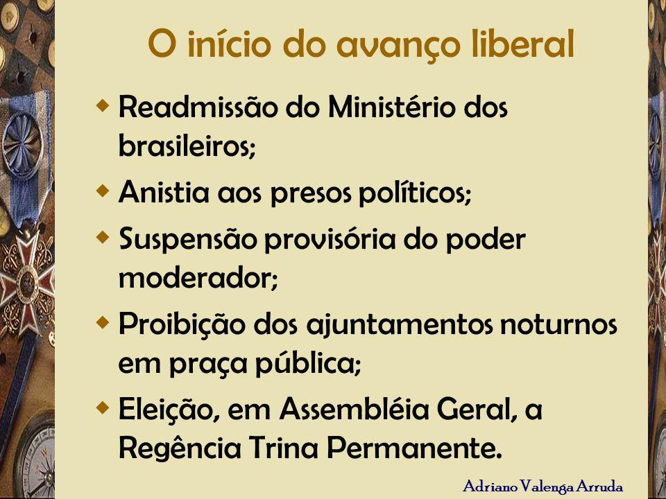 Adriano Valenga Arruda O início do avanço liberal Readmissão do Ministério dos brasileiros; Anistia aos presos políticos; Suspensão provisória do pode