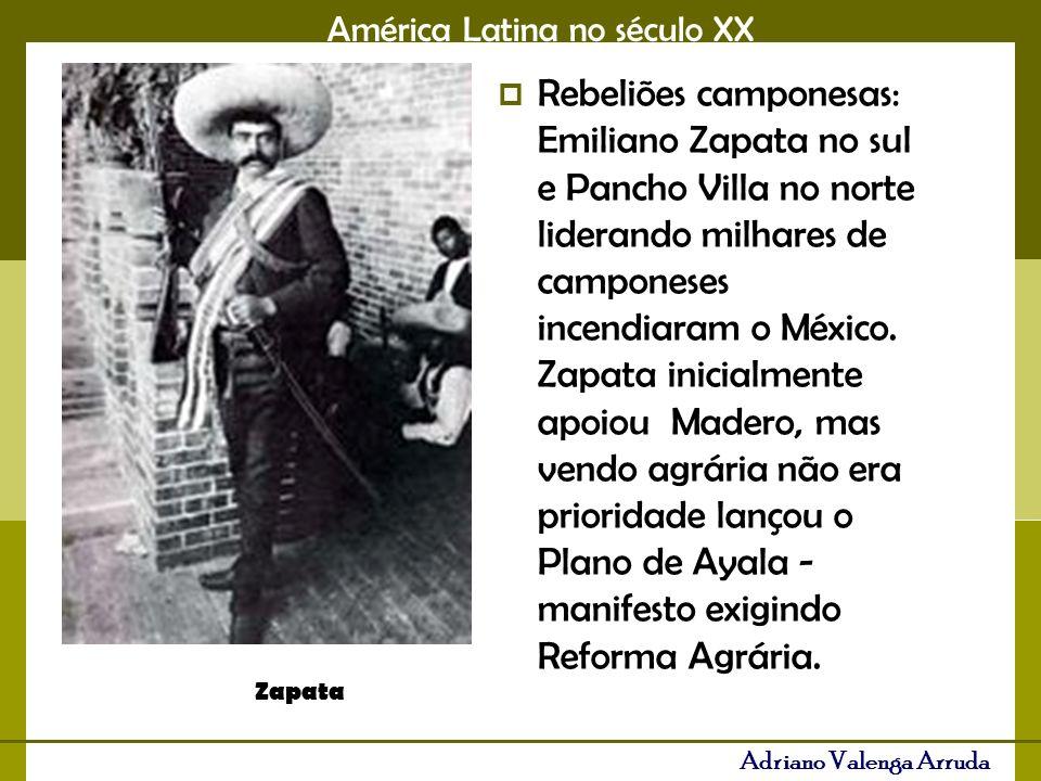 América Latina no século XX Adriano Valenga Arruda Pancho Villa, à esquerda, e Emiliano Zapata, líderes da guerra civil contra Adolfo de la Huerta que dividiu o México no início do século.