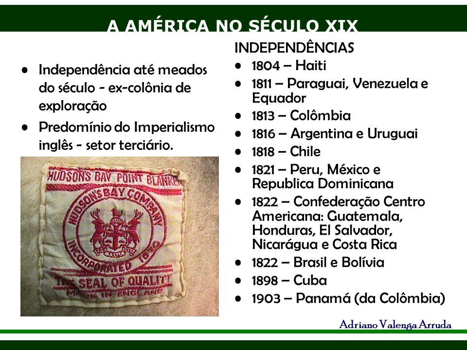 A AMÉRICA NO SÉCULO XIX Adriano Valenga Arruda Guerra do Pacífico - 1879-83: Peru (guano ) e Bolívia ( salitre ) X Chile, este com apoio inglês ganha e toma da Bolívia sua saída para o mar, território mais rico do mundo em cobre, desconhecido na época, o Peru perdeu as fontes de guano e salitre.