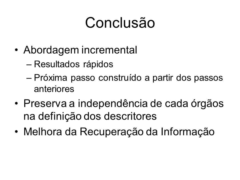 Conclusão Abordagem incremental –Resultados rápidos –Próxima passo construído a partir dos passos anteriores Preserva a independência de cada órgãos n