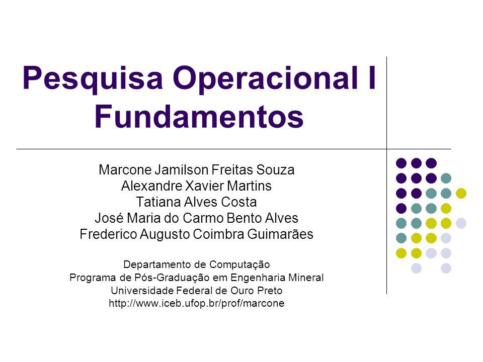 Roteiro Solução gráfica de um PPL Teorema Fundamental da Programação Linear Caracterização de vértice Fundamentação do Método SIMPLEX Método das duas fases Dualidade Análise de sensibilidade
