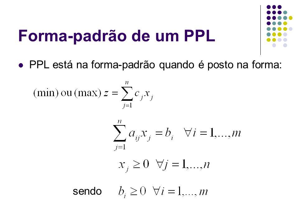 Forma-padrão de um PPL PPL está na forma-padrão quando é posto na forma: sendo