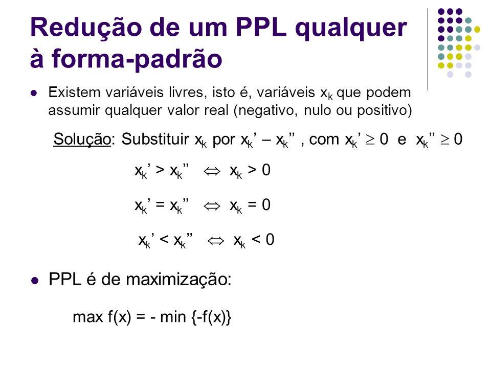 Redução de um PPL qualquer à forma-padrão Existem variáveis livres, isto é, variáveis x k que podem assumir qualquer valor real (negativo, nulo ou pos