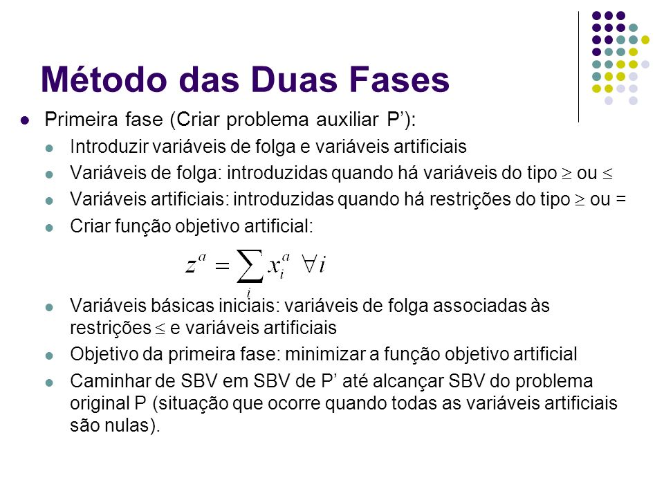 Método das Duas Fases Primeira fase (Criar problema auxiliar P): Introduzir variáveis de folga e variáveis artificiais Variáveis de folga: introduzida
