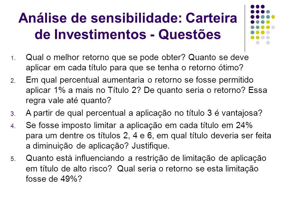 Análise de sensibilidade: Carteira de Investimentos - Questões 1. Qual o melhor retorno que se pode obter? Quanto se deve aplicar em cada título para