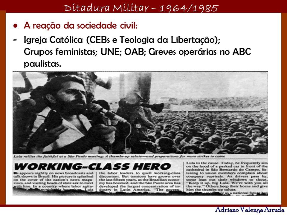 Ditadura Militar – 1964/1985 Adriano Valenga Arruda A reação da sociedade civil: -Igreja Católica (CEBs e Teologia da Libertação); Grupos feministas;