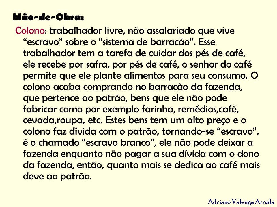 Adriano Valenga Arruda Problemas Expansão do café; Rio de Janeiro tinha no plantio do café mão de obra escravocrata; São Paulo na região Oeste, tinha no plantio do café mão de obra escravocrata, livre, livre assalariada e o sistema do colonato.