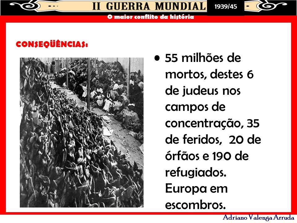 1939/45 O maior conflito da história Adriano Valenga Arruda CONSEQÜÊNCIAS: 55 milhões de mortos, destes 6 de judeus nos campos de concentração, 35 de