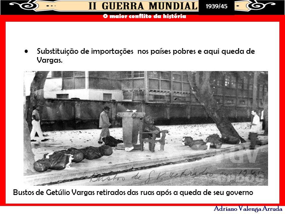 1939/45 O maior conflito da história Adriano Valenga Arruda Substituição de importações nos países pobres e aqui queda de Vargas. Bustos de Getúlio Va