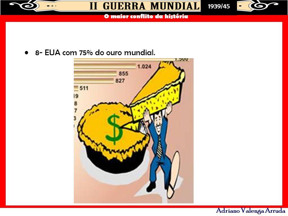 1939/45 O maior conflito da história Adriano Valenga Arruda 8- EUA com 75% do ouro mundial.