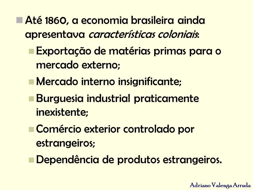 Adriano Valenga Arruda Até 1860, a economia brasileira ainda apresentava características coloniais: Exportação de matérias primas para o mercado exter