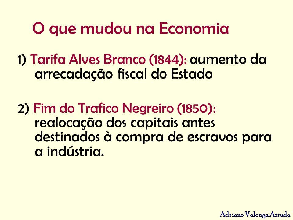 Adriano Valenga Arruda O que mudou na Economia 1) Tarifa Alves Branco (1844): a umento da arrecadação fiscal do Estado 2) Fim do Trafico Negreiro (185
