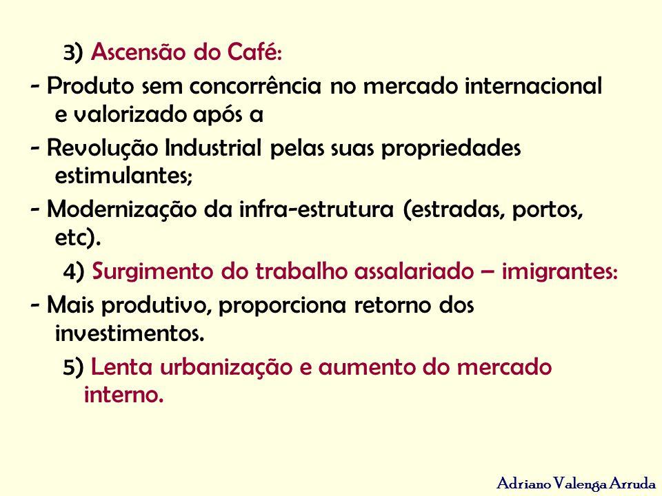 Adriano Valenga Arruda 3) Ascensão do Café: - Produto sem concorrência no mercado internacional e valorizado após a - Revolução Industrial pelas suas