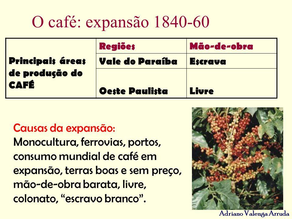 Adriano Valenga Arruda O café: expansão 1840-60 Principais áreas de produção do CAFÉ RegiõesMão-de-obra Vale do ParaíbaEscrava Oeste PaulistaLivre Cau