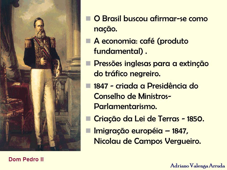 Adriano Valenga Arruda O Brasil buscou afirmar-se como nação. A economia: café (produto fundamental). Pressões inglesas para a extinção do tráfico neg