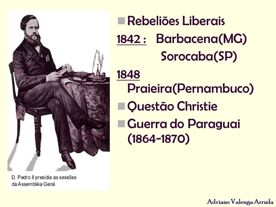 Adriano Valenga Arruda Rebeliões Liberais 1842 : Barbacena(MG) Sorocaba(SP) 1848 Praieira(Pernambuco) Questão Christie Guerra do Paraguai (1864-1870)