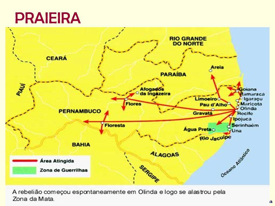 Adriano Valenga Arruda A Revolta Praieira, também denominada como Insurreição Praieira, Revolução Praieira ou simplesmente Praieira, foi um movimento de caráter liberal e separatista que eclodiu na então Província de Pernambuco, no Brasil, entre 1848 e 1852.Pernambuco Brasil18481852