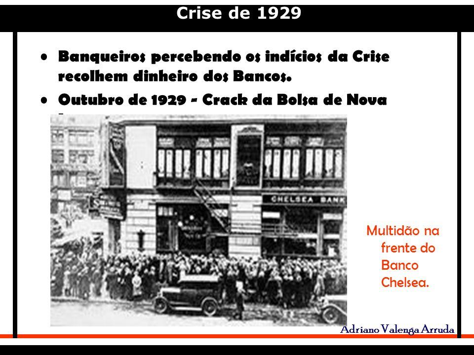 Crise de 1929 Adriano Valenga Arruda Banqueiros percebendo os indícios da Crise recolhem dinheiro dos Bancos.