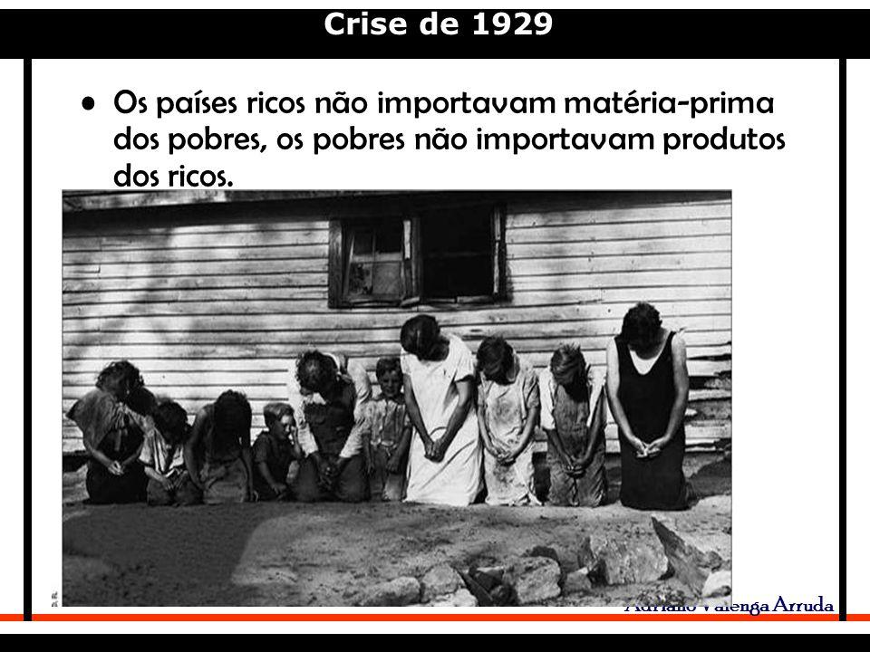 Crise de 1929 Adriano Valenga Arruda Os países ricos não importavam matéria-prima dos pobres, os pobres não importavam produtos dos ricos.