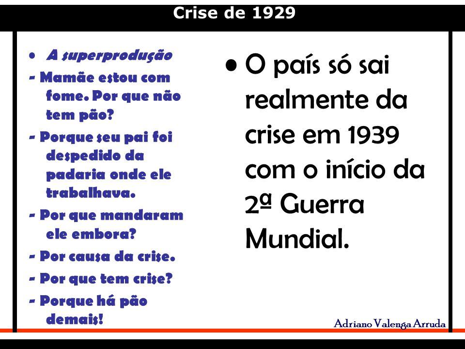 Crise de 1929 Adriano Valenga Arruda O país só sai realmente da crise em 1939 com o início da 2ª Guerra Mundial.